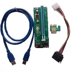 CONV.PCIE RISER CARD 1X A 16X COM CABOS USB 3.0 E MOLEX>SATA - 1060001