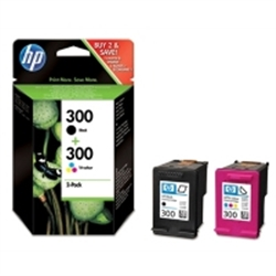 HP 300 Combo-pack Black/Tri-color Ink Cartridges - 1702671